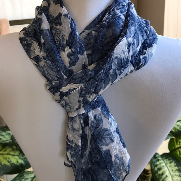 Lightweight blue and white floral scarf